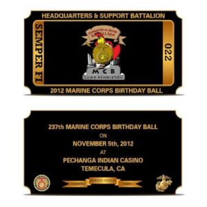 Marine Ball Ticket Challenge Coin