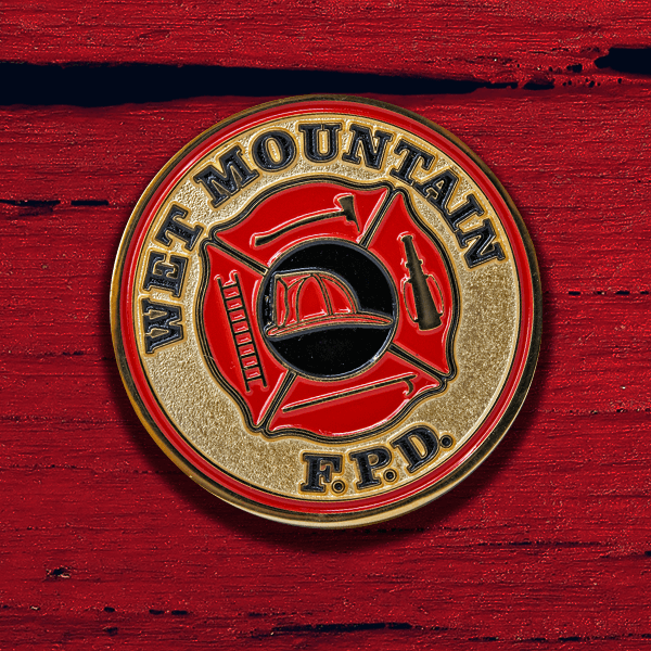 Firefighter Challenge Coin - Soft Enamel Polished Gold Sandblasted Coin